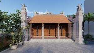 Mẫu nhà thờ họ 3 gian 2 mái tại Thái Bình