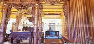 HÌnh ảnh nhà thờ họ 5 gian 2 mái gỗ gõ siêu đẹp tại Hà Nội