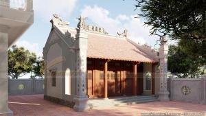 Thiết kế nhà thờ họ, từ đường tiền kẻ hậu bẩy bê tông giả gỗ