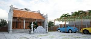 Thiết kế nhà thờ họ 3 gian 2 mái với bãi đỗ xe ô tô đẹp và rộng chỉ với 659 triệu