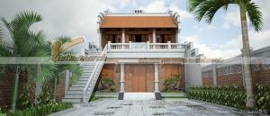 Thiết kế nhà thờ họ 2 tầng của chú Đông ở Ứng Hòa