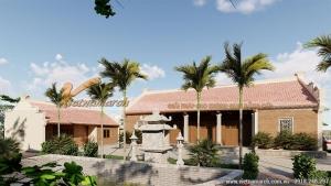 Bản vẽ thiết kế chi tiết Mẫu nhà thờ 5 gian 2 mái bê tông giả gỗ diện tích lớn siêu đẹp