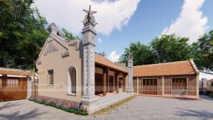 Thiết kế nhà thờ chú Châu-Sơn La đẹp bất diệt với 3 gian 2 mái kết hợp nhà ngang, thi công 1 tỉ 2