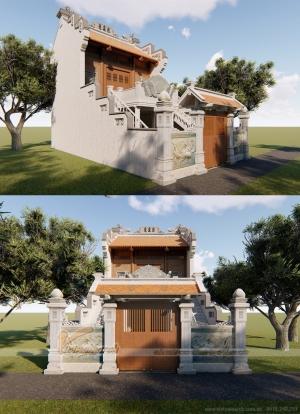 Mẫu nhà thờ họ 2 tầng cầu thang đi lên hai bên đẹp và chuẩn phong thủy