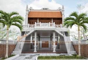 Thiết kế nhà thờ tổ nhà anh Minh 2 tầng với 2 phương án thiết kế cổng