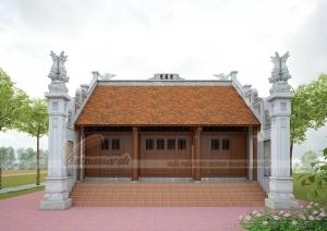 Thiết kế nhà thờ họ, từ đường kẻ truyền bê tông giả gỗ