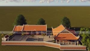 Thiết kế mẫu nhà thờ họ 4 mái kèm nhà ngang ở Ân Thi - Hưng Yên