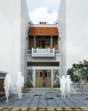 Mẫu nhà thờ họ 2 tầng 2 mái đẹp đơn giản và hiện đại