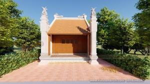 Thiết kế nhà thờ họ, từ đường 1 gian bê tông giả gỗ